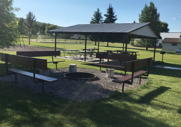 Fire pit and picnic shelter